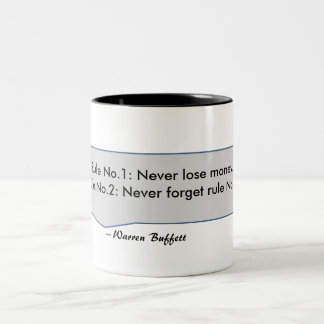 Warren Buffett Quote Never lose money rules Two-Tone Coffee Mug