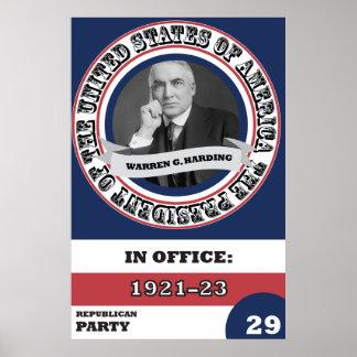 Warren G. Harding Presidential History Retro Poster