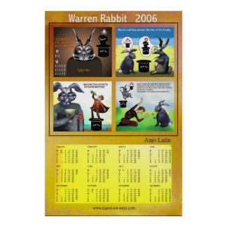 Warren Rabbit 2006 calendar by Anjo Lafin Poster