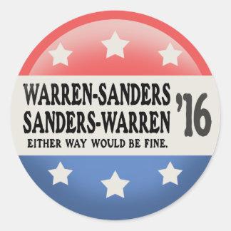 Warren - Sanders, Sanders Warren Classic Round Sticker