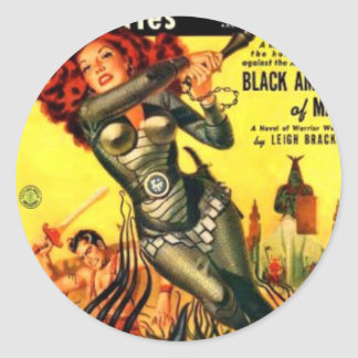 Warrier Maiden on Mars Classic Round Sticker