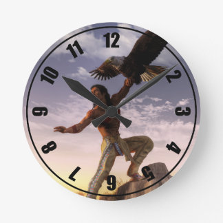 Warrior and Eagle Round Clock