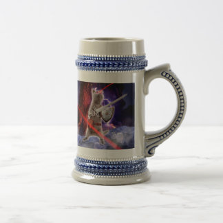 warrior cats - knight cat - cat laser beer stein