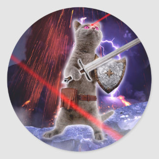 warrior cats - knight cat - cat laser classic round sticker
