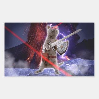 warrior cats - knight cat - cat laser rectangular sticker