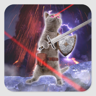 warrior cats - knight cat - cat laser square sticker
