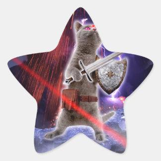 warrior cats - knight cat - cat laser star sticker