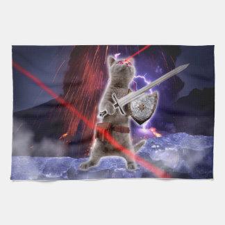 warrior cats - knight cat - cat laser tea towel