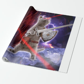 warrior cats - knight cat - cat laser wrapping paper