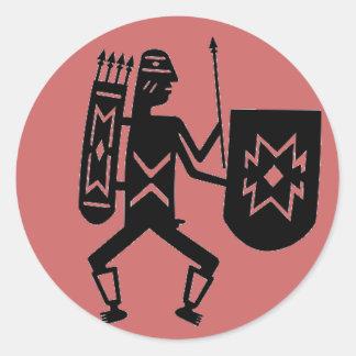 Warrior dot classic round sticker