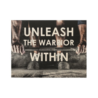 Warrior Gym Weight Training Body Fitness Wood Poster