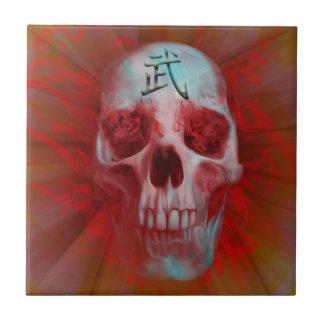 Warrior Kanji skull Ceramic Tile
