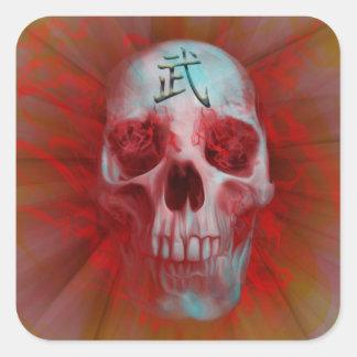 Warrior Kanji skull Square Sticker