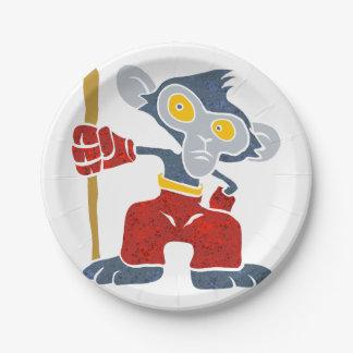 Warrior Monkey . 7 Inch Paper Plate