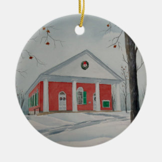 Warrior Run Presbyterian Church (winter) Round Ceramic Decoration