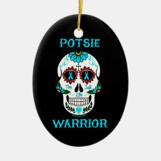 Warrior/Sugar skull...P.O.T.S. Ceramic Ornament