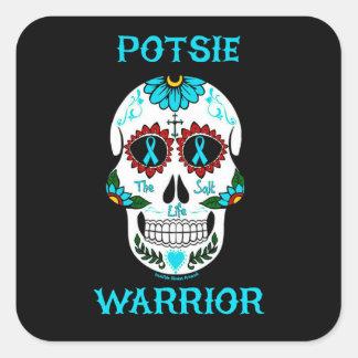 Warrior/Sugar skull...P.O.T.S. Square Sticker