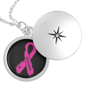 Warrior/ torn ribbon...Breast Cancer Locket Necklace