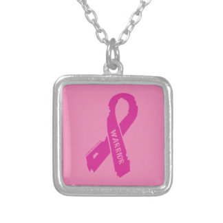 Warrior/ torn ribbon...Breast Cancer Silver Plated Necklace