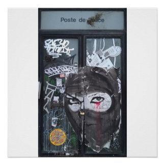 Warrior Woman graffiti street art poster