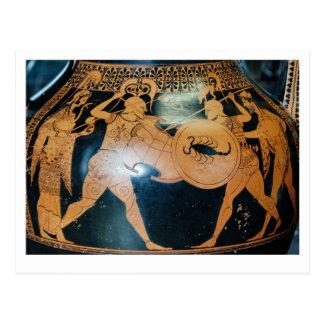 Warriors. Greek vase. Postcard