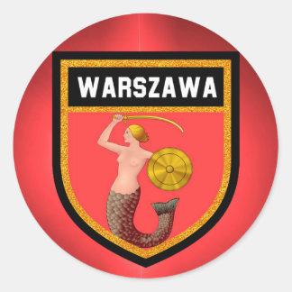 Warsaw  Flag Round Sticker