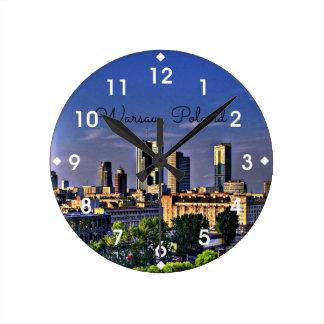 Warsaw, Poland Cityscape Round Clock