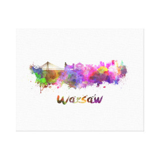 Warsaw skyline in watercolor canvas print