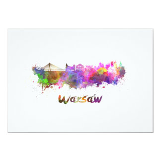 Warsaw skyline in watercolor card