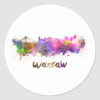 Warsaw skyline in watercolor classic round sticker
