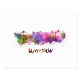 Warsaw skyline in watercolor postcard