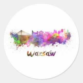 Warsaw skyline in watercolor round sticker