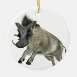 Warthog Jumping to Right Ceramic Ornament