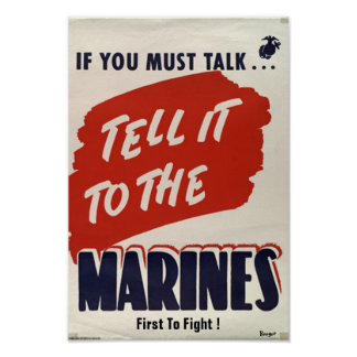 """Wartime WWII type Poster """"Marine Corps"""""""
