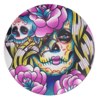 Wash Away Day of the Dead Girl Party Plate