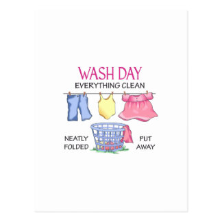 WASH DAY EVERYTHING CLEAN POSTCARD