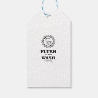 wash flush round tag