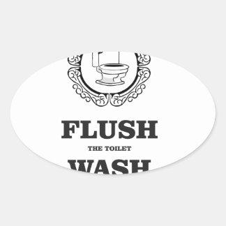 wash flush round tag oval sticker