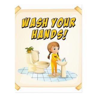 Wash hands postcard