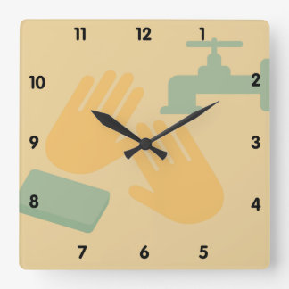 Wash your Hands Bathroom Art Square Wall Clock