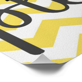 Wash Your Hands Please - Chevron - Yellow Grey Poster