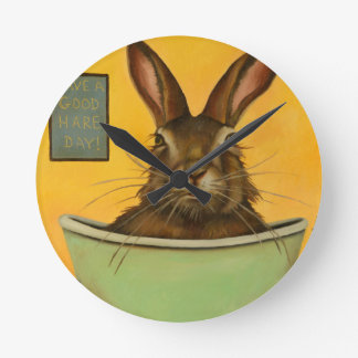 Wash Your Hare Round Clock