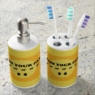 Wash Your Paws Soap & Toothbrush Holder set