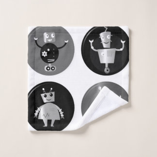 Washcloth with   robots wash cloth