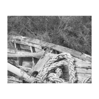 Washed Ashore Black and White Canvas Print