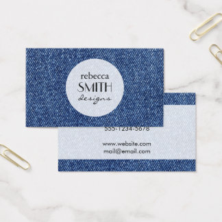 Washed Denim Fabric (Twill Textile) - Blue Business Card