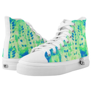 washed out leaf print high tops
