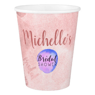 Washed Rosewood Pink Bridal Shower Paper Cup