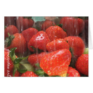 Washed strawberries greeting card