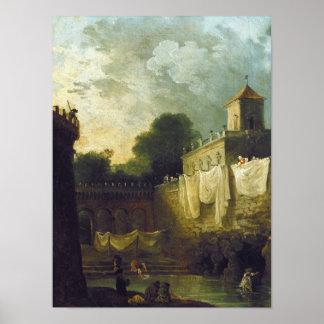 Washerwomen in the Moat of an Italian Villa Poster